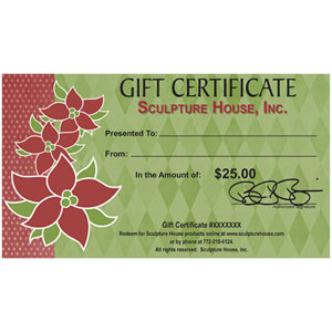 Sculpture House Holiday Gift Certificate - 25 Dollars