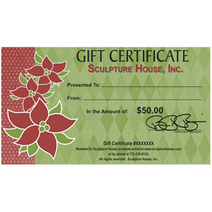 Sculpture House Holiday Gift Certificate - 50 Dollars